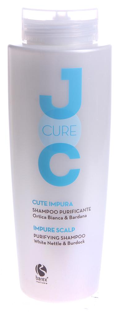 BAREX Шампунь очищающий с экстрактом Белой крапивы / JOC CURE 250млШампуни<br>Оказывает смягчающее и очищающее поры действие, не нарушая pH кожи. Восстанавливает естественный баланс кожи головы, придает волосам чистоту, мягкость и сияние. Крапива белая: эффективно регулирует секрецию сальных желез и обладает восстанавливающими свойствами. Лопух: оказывает лечебное действие, эффективно удаляет загрязнения. Активные ингредиенты: крапива белая, лопух, кондиционирующие ПАВ, экстракт конского каштана, биотин. Способ применения: нанести шампунь на влажные волосы и кожу головы легкими массажными движениями до образования пены, оставить на несколько минут, затем смыть водой.<br><br>Вид средства для волос: Очищающий<br>Типы волос: Для всех типов