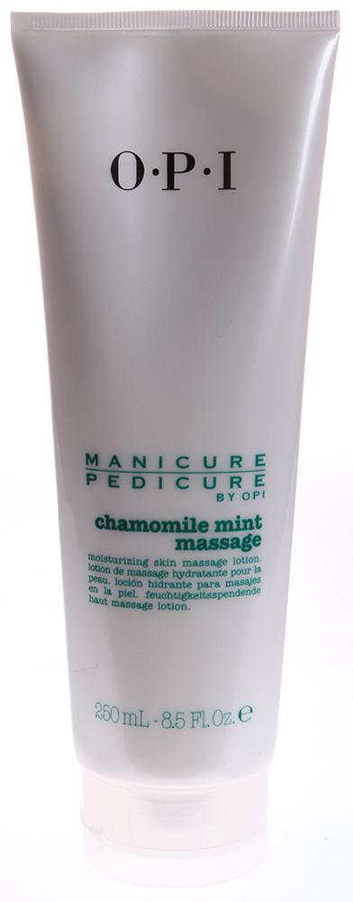 OPI Лосьон массажный Ромашка-мята / Manicure-Pedicure Chamomile Mint Lotion 250млЛосьоны<br>Лосьон-крем массажный Ромашка-Мята Chamomile Mint Lotion содержит экстракт ромашки, который очищает и успокаивает кожу, защищая ее от вредных воздействий окружающей среды. Витамины лечат и защищают кожу. Кроме того, экстракт мяты великолепно освежает кожу. Результат. Идеальный уход без ощущения жирной пленки на коже. Активный состав: Экстракт ромашки, витамины, экстракт мяты. Применение: Нанести массажными движениями на высушенные полотенцем руки или ступни.<br><br>Объем: 250<br>Вид средства для тела: Массажный