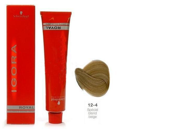 SCHWARZKOPF PROFESSIONAL 12-4 краска для волос / Игора Роял 60млКраски<br>IGORA Royal Colorist`s Color Creme - уникальный комплекс, состоящий из высокоэффективных микрочастиц, которые легко проникают внутрь волоса и отлично закрепляются по принципу магнита, формируя окончательный цветовой пигмент во время процесса окисления. Результат - отличное покрытие седины и интенсивный насыщенный цвет на длительное время. Ухаживающие протеины масла дерева Moringa Oleifera, содержащиеся в крем краске, укрепляют структуру волоса, защищают волосы от загрязнений окружающей среды и UV-излучения. Свежий косметический аромат, роскошная палитра нюансов, а также легкость в применении - все это позволяет достигать результатов самого высокого уровня.<br><br>Цвет: Блонд<br>Объем: 60<br>Класс косметики: Косметическая