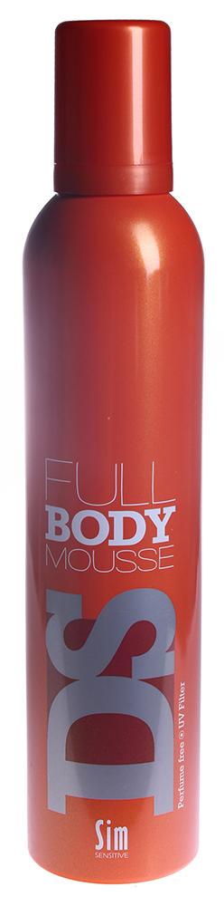 SIM SENSITIVE Мусс Фул Боди / Body Mousse DS 300млМуссы<br>Легкий мусс для придания объема волосам. При создании классических причесок мусс обеспечивает полный контроль движения. Мусс позволяет восстановить естественную влагу волос и защитить ваши волосы от перегрева. Подходит для всех типов волос. фиксация - 4 объем - 4 блеск - 4 Способ применения: Нанесите мусс на влажные волосы, расчешите и уложите волосы в прическу при помощи фена и расчески.<br>
