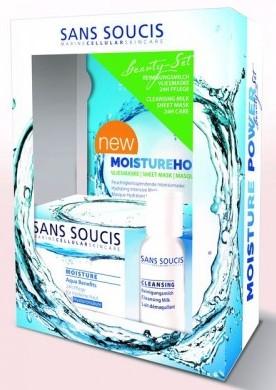 SANS SOUCIS Набор Максимальное увлажнение (крем увлажняющий для сухой кожи 50 мл + молочко очищающее 50 мл + маска листовая)