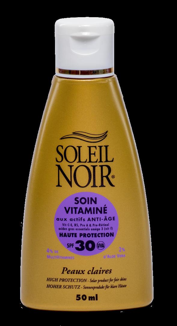 SOLEIL NOIR Крем антивозрастной витаминизированный Высокая степень защиты SPF30 / SOIN VITAMINE 50млКремы<br>Солнцезащитный витаминзированный крем для лица SOLEIL NOIR   идеальное решение для защиты кожи от негативных последствий воздействия солнечных лучей. Мультивитаминный состав дарит коже идеальный баланс влаги, а антиоксидантный комплекс защищает от фотостарения и стимулирует иммунную функцию кожи. Активные ингредиенты:   1 физический и 5 химических фильтров защиты от лучей спектра А и В   Витамины Е и F с жирными кислотами Омега-3 и pro-А оказывают антиоксидантное действие   Витамин С обеспечивает регенерацию клеток кожи   Бета-каротин (Pro-Retinol)  мощный антиоксидант, защищает от солнечного излучения, помогает получить ровный и стойкий загар и предотвратить старение кожи   Провитамин В5 способствует регенерации, повышению эластичности и смягчению кожи   Масла оливы, зародышей пшеницы и бурачника питают и восстанавливают   Экстракт алоэ веры увлажняет и успокаивает Способ применения: нанести перед выходом на солнце. Обновлять слой средства для поддержания защиты.<br><br>Защита от солнца: None<br>Вид средства для лица: Антивозрастной<br>Типы кожи: Для всех типов