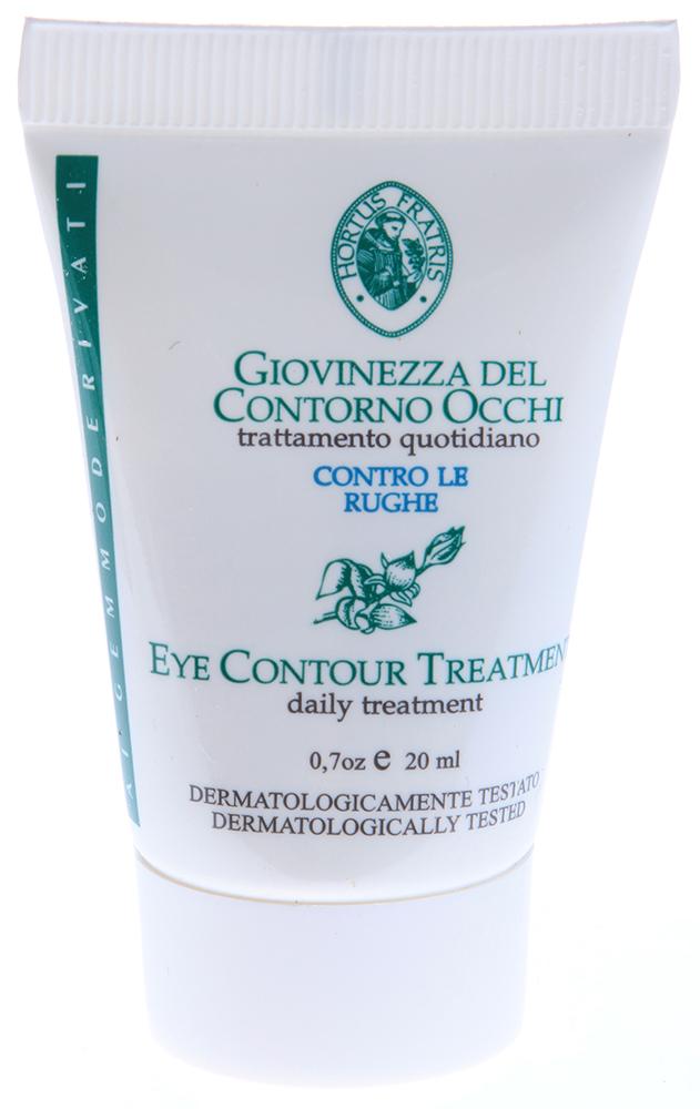HORTUS FRATRIS Эмульсия вокруг глаз / GIOVINEZZA CONTORNO OCCHI 20млЭмульсии<br>Глубоко питает и тонизирует, склонную к раннему увяданию, кожу вокруг глаз. Препятствует образованию отечности и темных кругов. Содержит экстракт пивных дрожжей &amp;ndash; источника большого количества витаминов группы В, необходимых для поддержания тонуса и молодости кожи. Экстракт липы, входящий в состав эмульсии успокаивает и увлажняет нежную кожу вокруг глаз. Бук лесной разглаживает морщинки. Эмульсия предназначена не только при первых признаках увядания кожи, но и при выраженном старении кожи (например, в климактерический период). Активные ингредиенты: экстракт пивных дрожжей, экстракт липы, экстракт бука лесного. Способ применения: небольшое количество эмульсии нанести на чистую кожу вокруг глаз.<br><br>Объем: 20мл<br>Назначение: Отечность