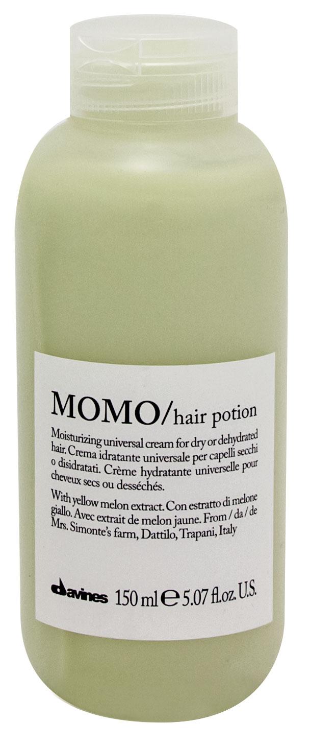 DAVINES SPA Крем увлажняющий несмываемый / NEW MOMO ESSENTIAL HAIRCARE 150млКремы<br>Продукты семейства MOMO созданы для сухих или обезвоженных волос. Средства MOMO содержат экстракт желтой дыни сорта Картуккьяру из Пачеко, выращенной в рамках программы Slow Food Presidium. Формула, насыщенная витаминами и минеральными солями, обеспечивает долговременное увлажнение волос. Шелковистая, но при этом легкая текстура увлажняющего крема не утяжеляет волосы. Способ применения: можно наносить на подсушенные полотенцем волосы после использования продуктов МОМО, а также после любых других шампуней и кондиционеров линии Essential Haircare. Или на сухие волосы после стайлинга.<br><br>Типы волос: Сухие