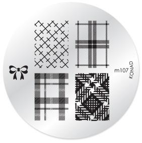 KONAD Форма печатная (диск с рисунками) / image plate M107 10грСтемпинг<br>Диск для стемпинга Конад М107 с очередными изображениями стильной клетки. 5 видов изображений, с помощью которых вы сможете создать великолепные рисунки на ногтях, которые очень сложно создать вручную. Активные ингредиенты: сталь. Способ применения: нанесите специальный лак&amp;nbsp;на рисунок, снимите излишки скрайпером, перенесите рисунок сначала на штампик, а затем на ноготь и Ваш дизайн готов! Не переставайте удивлять себя и близких красотой и оригинальностью своего маникюра!<br>