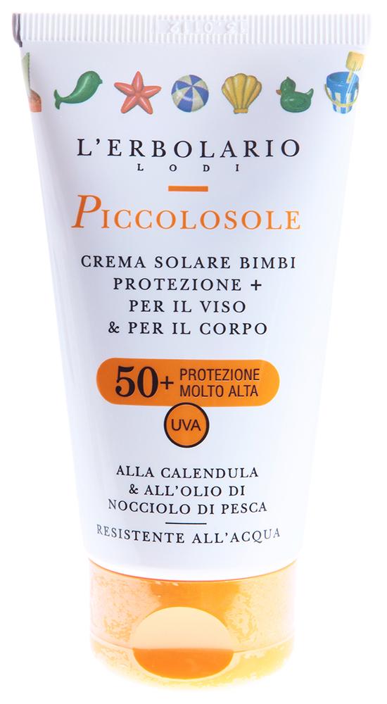 LERBOLARIO Крем детский солнцезащитный для лица и тела Солнышко с календулой и маслом персиковых косточек 75м