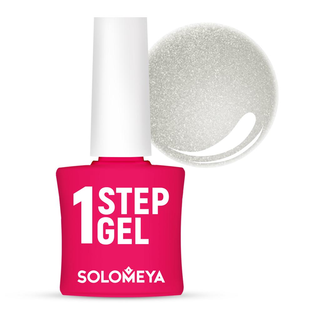 Купить SOLOMEYA Гель-лак однофазный для ногтей, 36 серебро / One Step Gel Silver 5 мл, Серые