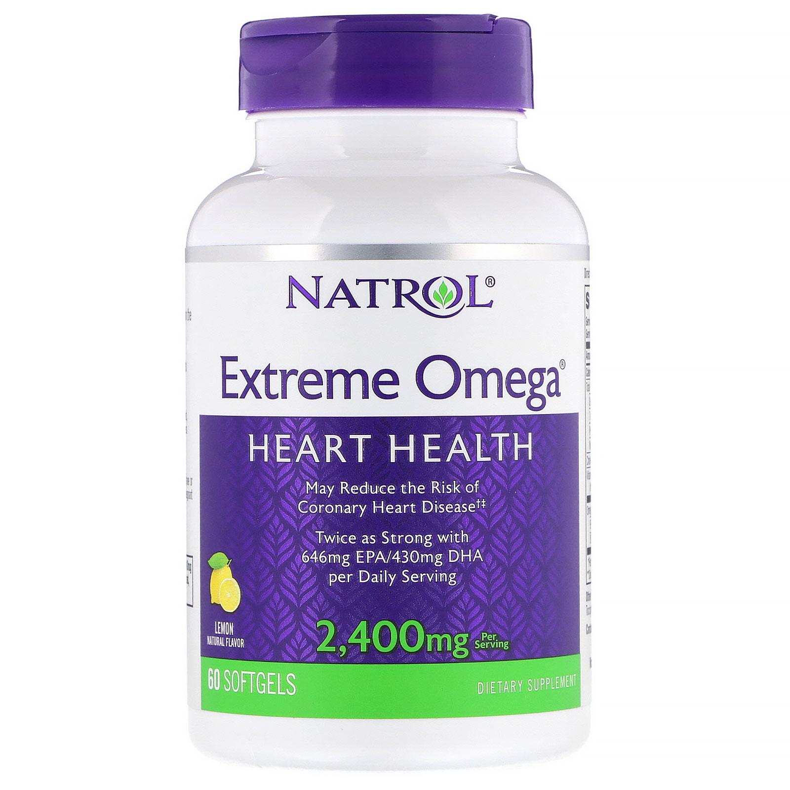 Купить NATROL Добавка биологически активная к пище Натрол экстрим омега / Omega Extreme 2400 мг 60 капсул