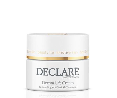DECLARE Крем омолаживающий с эффектом лифтинга для сухой кожи / Dermal Lift Cream Dry Skin 50млКремы<br>Омолаживающий крем Derma Lift Declare Cream с эффектом лифтинга содержит новую подтягивающую формулу derma-lift. Крем содержит активен, благодаря омолаживающим фитокомпонентам и кислотам, когезину - белковый гидролизат из кунжутных зерен, витаминам и натуральным экстрактам. Омолаживающий крем с эффектом лифтинга Декларе восстанавливает защитный барьер кожи, разглаживает и восстанавливает коллагеновые и эластиновые волокна, стимулирует клеточную активность.&amp;nbsp; Активные ингредиенты: растительные действующие вещества из корней Ириса, витамин А, растительные органические кислоты, гиалуроновая кислота, бисаболол, экстракт календулы, витамин Е, вспомогательные компоненты.&amp;nbsp; Способ применения: наносить Derma Lift Cream dry skin Declare на лицо и шею утром и вечером после процедуры очищения.<br><br>Возраст применения: После 35
