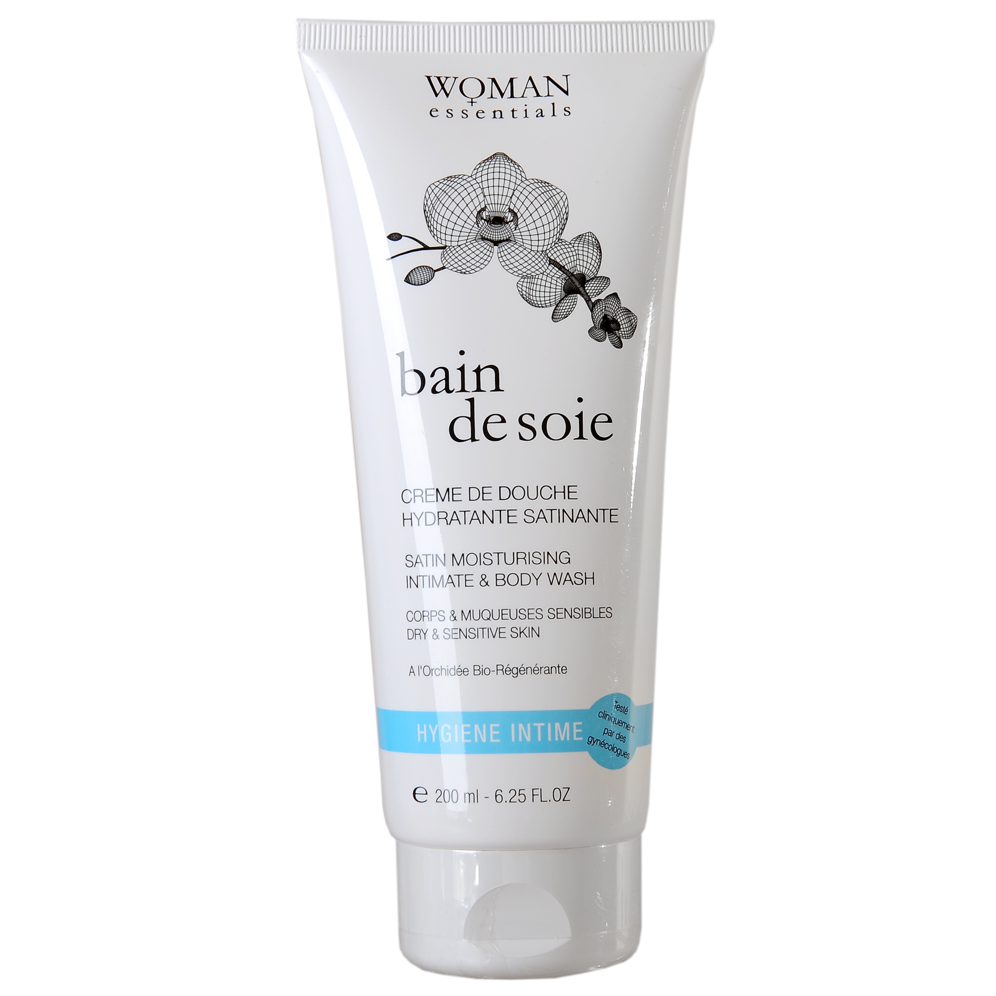 """WOMAN ESSENTIALS Увлажняющий и придающий блеск душ-гель для тела и интимной гигиены """"Bain De Soie"""", 200 мл."""