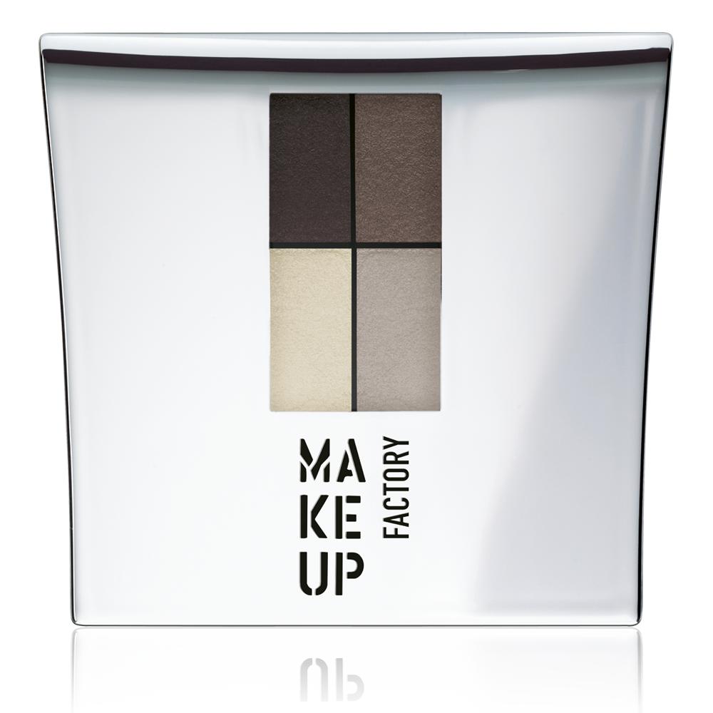 MAKE UP FACTORY Тени 4-х цветные для глаз, 04 дуб - коричневая охра - цинковые белила - серый / Eye Colors 4,8 г