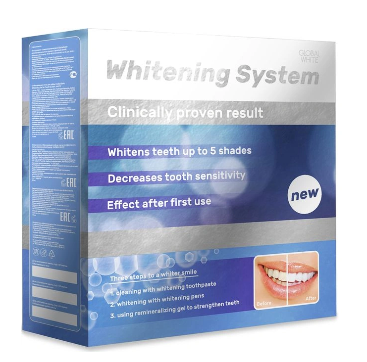 Купить GLOBAL WHITE Система премиум для домашнего отбеливания зубов (гель-карандаш 15 мл х 2 шт. зубная паста 30 мл, гель 40 мл, ретрактор) GLOBAL WHITE PREMIUM