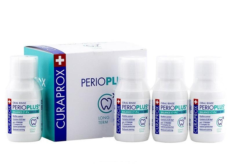 CURAPROX Жидкость-ополаскиватель для полости рта с содержанием хлоргексидина 0,05% / Perio Plus Balance 4 х 100 мл