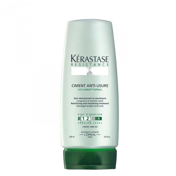 KERASTASE Маска для поврежденных волос Уход-Цемент / RESISTANCE 200млМаски<br>Укрепление и восстановление для поврежденных волос и кончиков. Восстанавливающее средство для ослабленных волос, которое укрепляет волосы изнутри и восстанавливает внешний защитный слой.   Для мягких, плотных волос.   Повышает прочность волос.   Волосы становятся менее ломкими. Активные ингредиенты: Vita-Ciment + Vita-Topseal. Vita-Ciment  :   Восстанавливает межклеточный цемент   Восстанавливает внутреннюю структуру, помогает восстановить структуру волосяной кутикулы   Уплотняет волокна волос изнутри Vita-Topseal:   Восстанавливает межклеточный цемент   Обеспечивает дополнительную защиту волос, покрывая волокна защищающей от агрессивных воздействий пленкой. Способ применения: после применения рекомендованного шампуня: Force.   Нанесите Уход-Цемент и распределите по волосам по длине и на кончики.   Тщательно промойте.<br><br>Вид средства для волос: Восстанавливающий