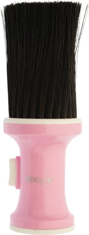 DEWAL PROFESSIONAL Кисть-сметка настольная, ручка пластик, емкость для талька, искусственная щетина, розовая