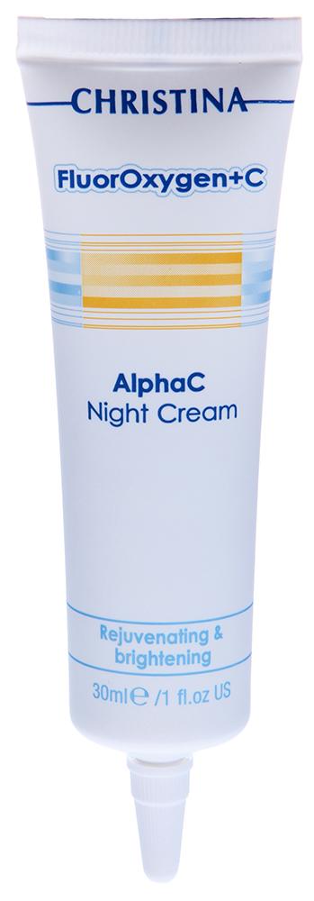 CHRISTINA Крем осветляющий ночной / Alpha C Night Cream FLUOROXYGEN+C 30млКремы<br>Инновационный, осветляющий кожу крем дает эффект, равный Ретин-А и гидрохинону. Удачно подобранное сочетание альфагидроксильных кислот, ретинола, третиноина и Р-гидроксианизола безболезненно борются со старением и пигментацией без раздражения кожи. Применение: Ежедневно наносите небольшое количество крема равномерным слоем поверх сыворотки Fluoroxygen+C Vita C Clear Night Serum. Выполните массаж до полной абсорбации. Ингредиенты: Деионизированная вода, цетиловый спирт, стеариловый спирт, цетеарет-30, глицерин, молочная кислота, гликолевая кислота, Р-гидроксианизол, токоферил ацетат, ретинол, ликопен, содиум матебисульфит, аскорбиновая кислота, метилпарабен, пропилпарабен, ВНТ, дисодиум EDTA.<br><br>Объем: 30<br>Вид средства для лица: Отбеливающий<br>Время применения: Ночной