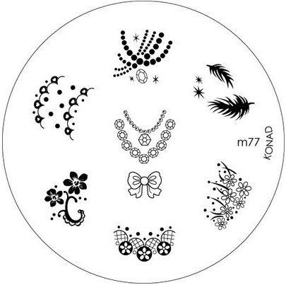 KONAD Форма печатная (диск с рисунками) / image plate M77 10грСтемпинг<br>Диск для стемпинга Конад М77 с дивными узорами в виде колье, бус, а также легкие перышки и красивые цветочки. Несколько видов изображений, с помощью которых вы сможете создать великолепные рисунки на ногтях, которые очень сложно создать вручную. Активные ингредиенты: сталь. Способ применения: нанесите специальный лак&amp;nbsp;на рисунок, снимите излишки скрайпером, перенесите рисунок сначала на штампик, а затем на ноготь и Ваш дизайн готов! Не переставайте удивлять себя и близких красотой и оригинальностью своего маникюра!<br>