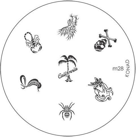 KONAD Форма печатная (диск с рисунками) / image plate M28 10грСтемпинг<br>Диск для стемпинга Конад М28 с орлом, пиратским черепом на костях, коброй, единорогом, пауком, скорпионом и пальмой с надписью California. Несколько видов изображений, с помощью которых вы сможете создать великолепные рисунки на ногтях, которые очень сложно создать вручную. Активные ингредиенты: сталь. Способ применения: нанесите специальный лак&amp;nbsp;на рисунок, снимите излишки скрайпером, перенесите рисунок сначала на штампик, а затем на ноготь и Ваш дизайн готов! Не переставайте удивлять себя и близких красотой и оригинальностью своего маникюра!<br>