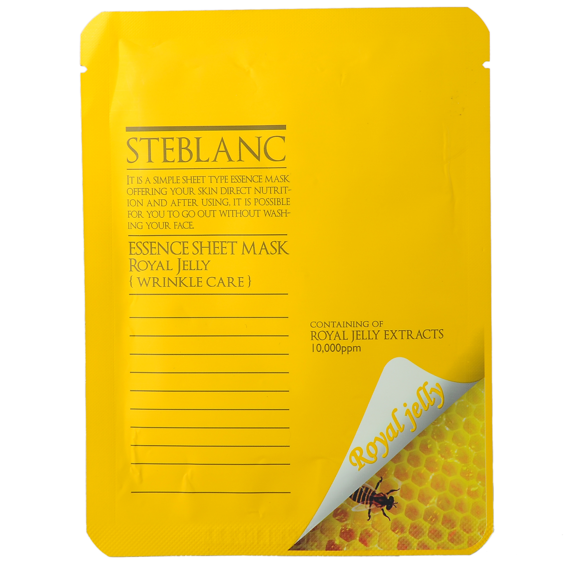 STEBLANC Маска против морщин с экстрактом маточного молочка для лица / ESSENCE SHEET MASK 20грМаски<br>Маска из высококачественного нетканного материала с активными компонентами. Маска двойного действия ухаживает за тусклой и морщинистой кожей лица, а также очень эффективна при стрессах и других негативных факторах. Маточное молочко содержит достаточное количество белков, жиров, углеводов и влаги, которая питает и активно увлажняет лицо. Маска поддерживает кожу мягкой и здоровой. За счет высококачественного материала маска обладает высокой адгезией и плотно прилегает к лицу. Таким образом, кожа способна быстро впитывать активные компоненты. Вы сможете почувствовать разницу от других существующих продуктов уже после первого применения. Активные ингредиенты: ниацинамид, аденозин, маточное молочко, пантенол, экстракт портулака, сок листьев алоэ вера, экстракт розмарина, гидролизованный коллаген, экстракт виноградной косточки, экстракт корейской малины, гиалуронат натрия . Способ применения: снимите макияж и умойте лицо. На очищенную кожу плотно нанесите маску. Расслабьтесь на 10-20 минут, промокните кончиками пальцев маску на лице, затем удалите.<br><br>Назначение: Морщины