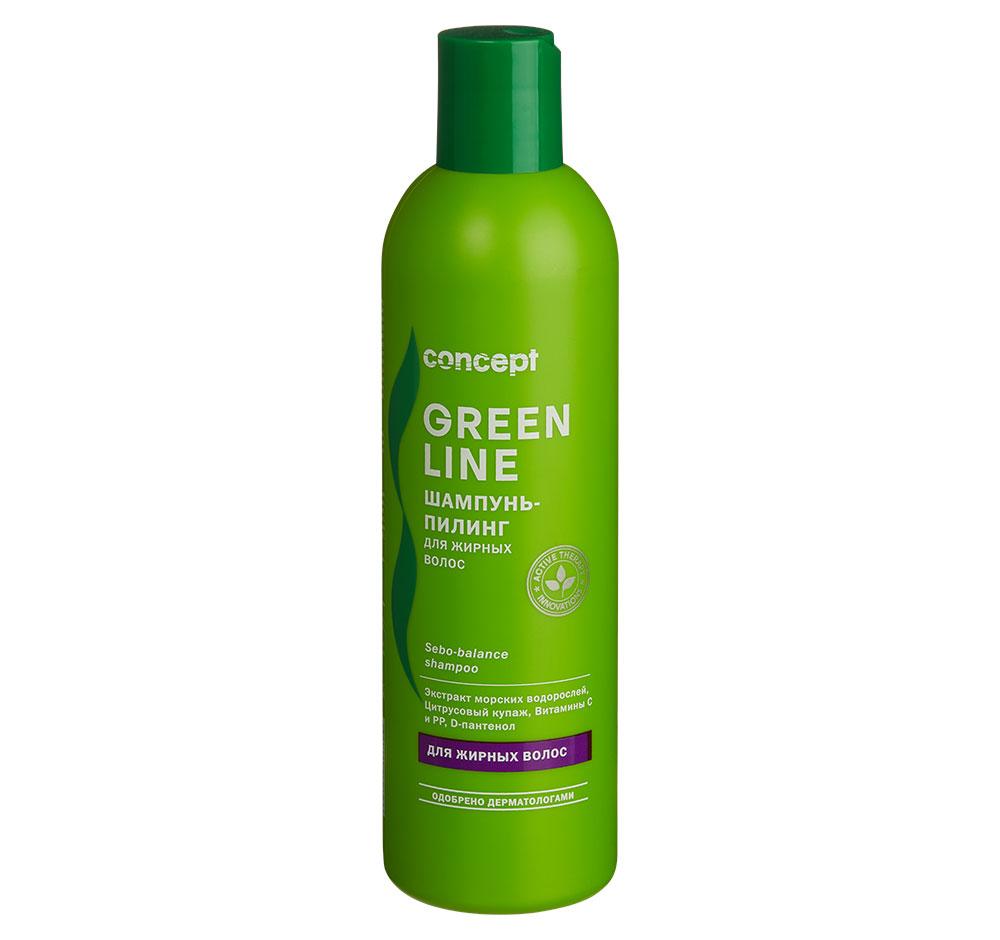 Купить CONCEPT Шампунь-пилинг для жирных волос / GREEN LINE Sebo-balance shampoo 300 мл