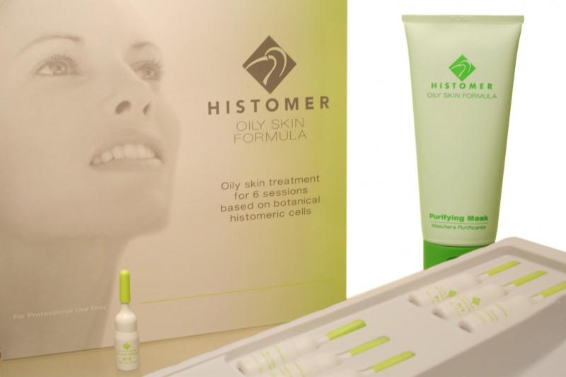 HISTOMER Набор для себорегуляции жирной кожи на 6 процедур / Oily Skin Kit for 6 sessionsНаборы<br>Уход на 6 сеансов включает:  Быстродействующая сыворотка-фаза 1(P/1 SHORT TERM PHASE),6х2,5 мл Очищающая маска для жирной кожи (PURIFYING MASK), 200 мл  Сыворотка длительного действия &amp;mdash; фаза 2 (P/2 LONG TERM PHASE),6х2,5 мл  Активные ингредиенты: Хистомерные клетки корней дуба, Комплекс Regu&amp;reg;-Seb (экстракты серенои ползучей, кунжута, масло арганы), цинк, фарнезол, бисаболол, стеарил глицирретинат, линолевая и линолетовые кислоты, каолин.  Способ применения: Салонную процедуру рекомендуется проводить 2 раза в течение 1-ой недели, а затем по 1 разу в течение 4 недель.<br><br>Типы кожи: Жирная