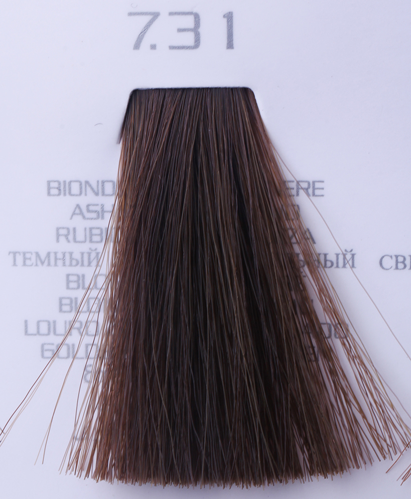 HAIR COMPANY 7.31 краска для волос / HAIR LIGHT CREMA COLORANTE 100млКраски<br>7.31 русый золотисто-пепельныйHair Light Crema Colorante   профессиональный перманентный краситель для волос, содержащий в своем составе натуральные ингредиенты и в особенности эксклюзивный мультивитаминный восстанавливающий комплекс. Минимальное количество аммиака позволяет максимально бережно относится к структуре волоса во время окрашивания. Содержит в себе растительные экстракты вытяжку из арахиса, лецитин, витамин А и Е, а так же витамин С который является природным консервантом цвета. Применение исключительно активных ингредиентов и пигментов высокого качества гарантируют получение однородного, насыщенного, интенсивного и искрящегося оттенка. Великолепно дает возможность на 100% закрасить даже стекловидную седину. Наличие 6-ти микстонов, а так же нейтрального бесцветного микстона, позволяет достигать получения цветов и оттенков. Способ применения: смешать Hair Light Crema Colorante с Hair Light Emulsione Ossidante в пропорции 1:1,5. Время воздействия 30-45 мин.<br><br>Вид средства для волос: Восстанавливающий<br>Класс косметики: Профессиональная