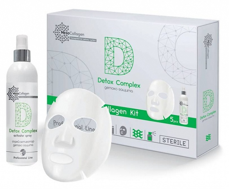 MEDICAL COLLAGENE 3D Набор Детокс-защита (аппликаторы для лица 5 шт и спрей 150 мл) / Detox Complex MesoCollagen