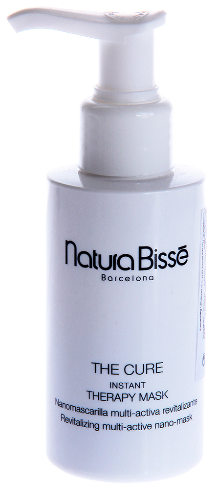 NATURA BISSE Маска мгновенная восстанавливающая / Instant Therapy Mask THE CURE 100млМаски<br>Маска The Cure эффективно восстанавливает, увлажняет и очищает кожу, делая ее ухоженной и бархатистой. Экстракт красных морских водорослей защищает кожу от воздействия свободных радикалов, уменьшает воспаления и покраснения, прекрасно успокаивает и смягчает кожу. Новейший нано-активный продукт с эффектом вспенивания и окисления создает на поверхности кожи легкую стимулирующую пену, способствующую глубокому проникновению активных веществ. Входящие в состав маски карбамит и бетаин, являясь мощными увлажняющими средствами, надолго удерживают воду в клетках кожи, уменьшая трансдермальную потерю воды. Тщательно очищает поры, препятствует появлению черных точек. Оказывает смягчающий и антистрессовый эффект. Восстанавливает гидролипидную пленку и другие факторы естественного увлажнения кожи. Ускоряет обновление эпидермиса. Выравнивает цвет лица, возвращая коже естественное сияние. Идеально подходит для людей, живущих в условиях загрязненной окружающей среды. Активные ингредиенты: экстракт красных морских водорослей, карбамит, бетаин. Способ применения: нанесите тонким слоем на лицо, шею, зону декольте, используя щеточку. Избегайте контура глаз, ноздрей, области рта. Оставьте на 5-10 минут до образования пены. Смойте с помощью спонжей, смоченных в теплой воде.<br><br>Объем: 100<br>Назначение: Черные точки
