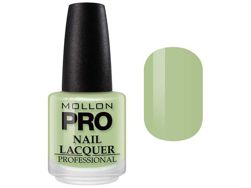 MOLLON PRO Лак для ногтей с закрепителем / Hardening Nail Lacquer  105 15млЛаки<br>Профессиональный лак для ногтей с усиленным блеском.&amp;nbsp;Яркий, соблазнительный и удобный в применении лак, созданный по безопасной формуле Save and Care, не содержит дибутилфталата, толуола, формальдегида и надолго сохраняет эстетический вид.&amp;nbsp;Входящая в состав лака специальная формула с содержанием кальция, фосфора и цинка оказывает восстанавливающую, ухаживающую и защитную функцию для ногтей. Профессиональная кисточка великолепно распределяет лак на ногтевой пластинке, не оставляя разводов. Способ применения: чтобы продлить стойкость стилизации, необходимо применить Base Coat Nail Repair перед нанесением лака, затем 2 слоя Nail Lacquer и Top Coat Quick Dryer.<br><br>Цвет: Зеленые<br>Класс косметики: Профессиональная<br>Виды лака: Глянцевые