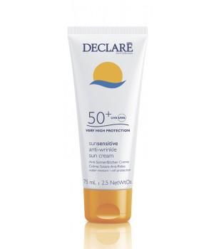 DECLARE Крем солнцезащитный с омолаживающим действием SPF50+ / Anti-Wrinkle Sun Cream 75млКремы<br>Крем с защитным фактором SPF 50 надежно оберегает кожу от солнечных ожогов, интенсивно увлажняет и делает кожу удивительно гладкой. Специальная формула предотвращает преждевременное старение кожи, препятствует появлению пигментных пятен и обеспечивает ровный загар. Способ применения: равномерно нанесите крем на кожу лица и/или тела перед пребыванием на солнце. После длительного пребывания в воде рекомендуется нанести средство повторно.<br>