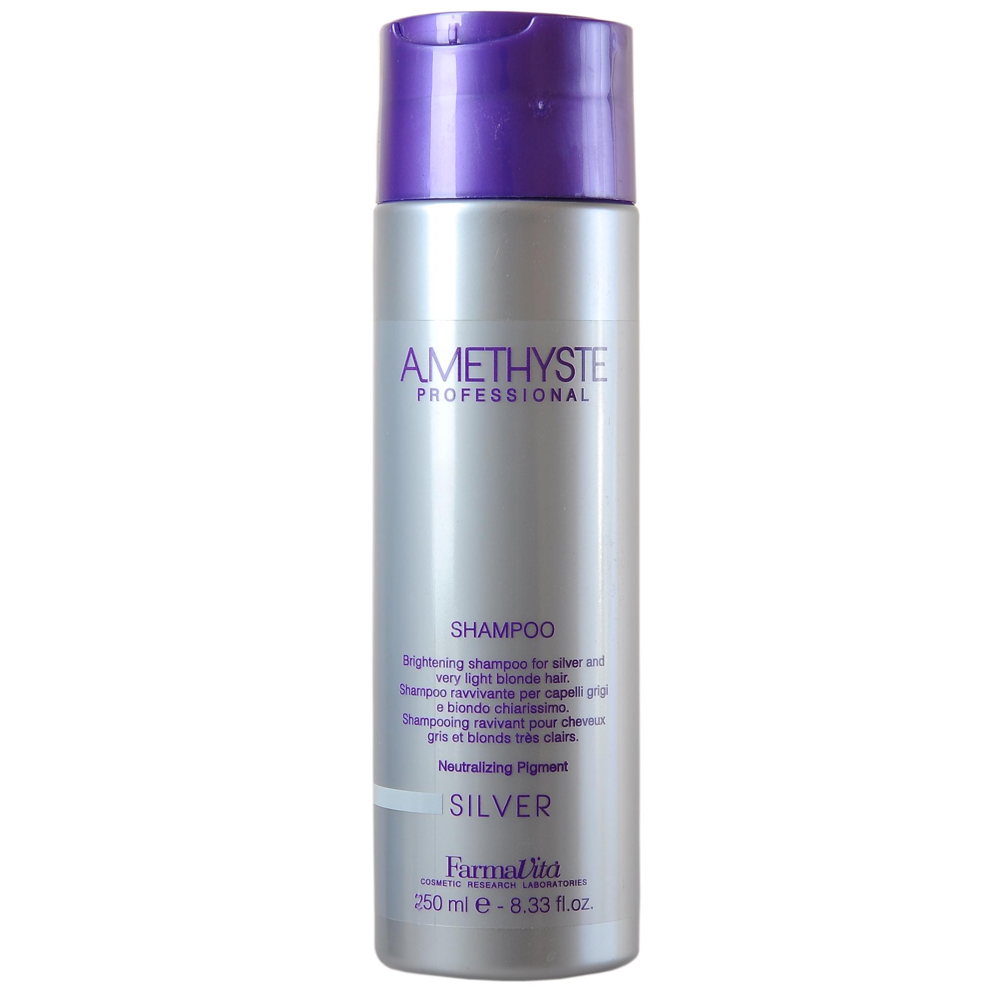 FARMAVITA Шампунь для светлых и седых волос Amethyste silver shampoo / AMETHYSTE PROFESSIONAL 250 млШампуни<br>Оттеночный шампунь для седых и светлых волос. Мягко очищает волосы и нейтрализует желтый оттенок. Придает яркий блеск и подчеркивает осветленные пряди. Нейтрализация пигмента. Анти-желтые пигменты уменьшают нежелательные желтые оттенки на предварительно осветленных, седых и затонированных волосах. Преимущества использования в комбинации: ШАМПУНЬ VOLUME + КОНДИЦИОНЕР VOLUME: 1.Придает объем; 2.Делает послушными и шелковистыми спутанные и сухие волосы; 3.Обеспечивает термозащиту; 4.Придает волосам естественный блеск. Активные ингредиенты: антижелтые пигменты - уменьшают нежелательные желтые оттенки, предварительно осветленных, тонированных светлых и седых волос. Способ применения: равномерно нанести шампунь Аметист Сильвер на влажные волосы и кожу головы. При использовании после процедуры окрашивания следует предварительно смыть краску. Шампунь вспенить, распределить по волосам аккуратными массажными движениями, смыть. При необходимости процедуру повторить.<br><br>Цвет: Блонд<br>Объем: 250 мл<br>Вид средства для волос: Оттеночный