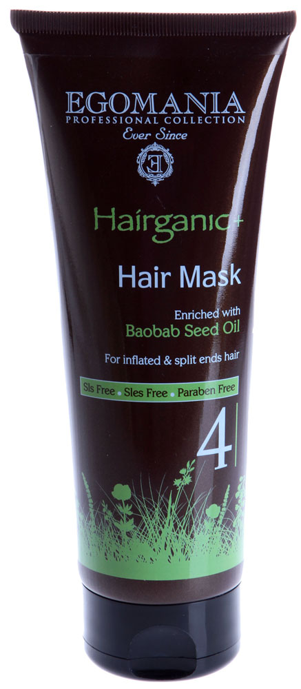 EGOMANIA Маска с маслом баобаба для непослушных и секущихся волос / HAIRGANIC 250млМаски<br>Маска для непослушных и секущихся волос от Egomania с легкой увлажняющей текстурой, быстро проникает вглубь волоса и восстанавливает структуру. Действие: Волосы легко расчесываются, они становятся послушными. Маска защищает от агрессивного воздействия окружающей среды. Насыщенная формула на основе минералов Мертвого моря и масел баобаба, жожоба, сладкого миндаля, огуречника интенсивно увлажняет и укрепляет структуру волоса. Активные ингредиенты: минералы Мертвого моря, масла баобаба, жожоба, сладкого миндаля, огуречника.<br><br>Типы волос: Секущиеся
