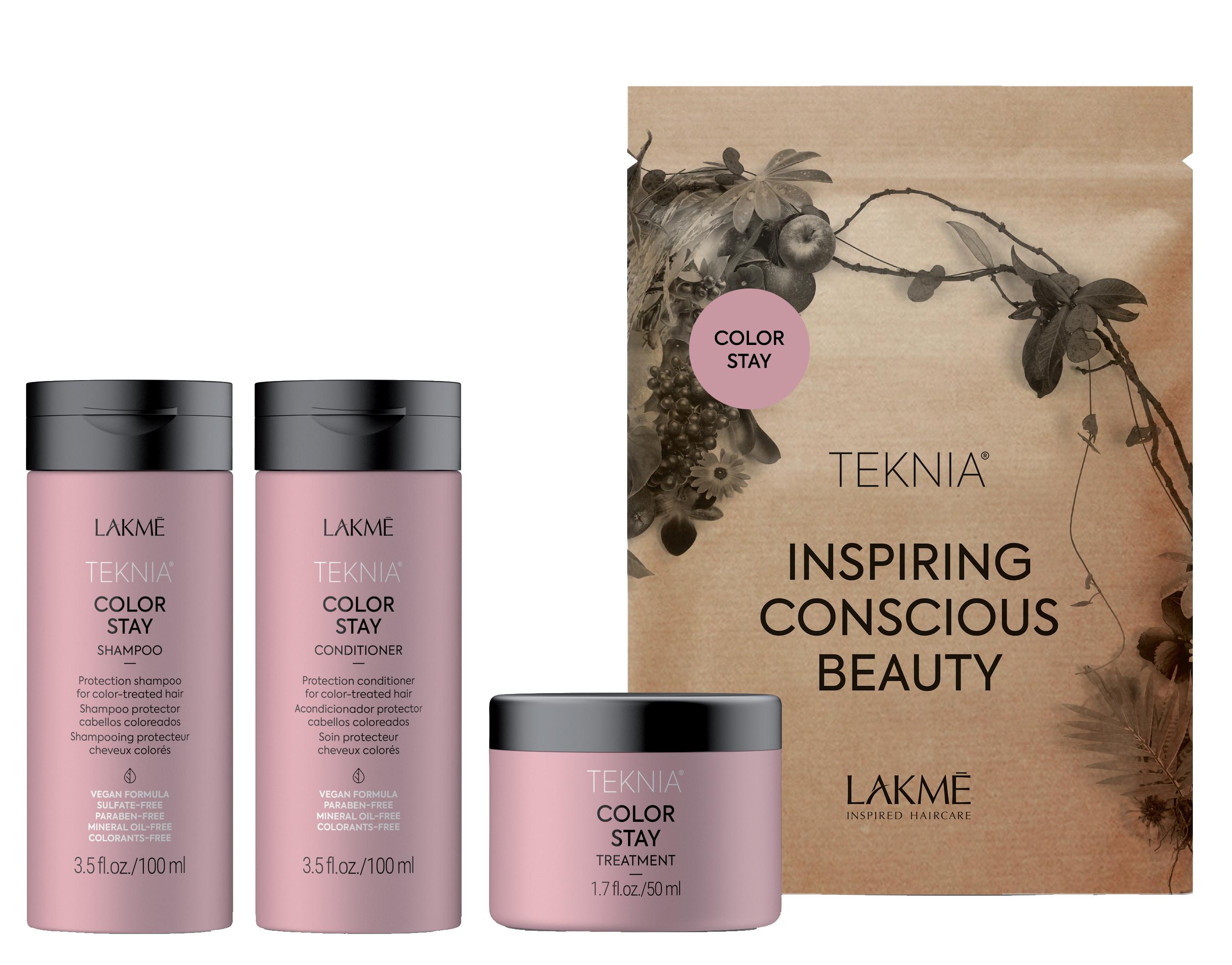 Купить LAKME Набор дорожный для защиты цвета окрашенных волос (шампунь, кондиционер, маска) / TRAVEL PACK COLOR STAY