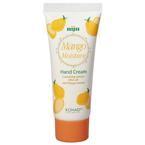 KONAD Крем для рук увлажняющий Манго / niju Moisture 60млКремы<br>Великолепный натуральный аромат манго! Удобный и небольшой крем для путешествий. Предотвращает сухость и увлажняет кожу рук, что делает её гладкой и шелковистой. Содержит оливковое масло и природный экстракт манго. Особенно полезен для грубой и сухой кожи . Масло ши образует защитный слой на сухих руках, ускоряет метаболизм кожи , предотвращает от потери воды. Оливковое массло придает эффект отбеливания и антивозрастной эффект. Экстракт манго полезен для кожи атиоксидантами, которые смягчают и сохраняют кожу рук увлажненной. Сохраняйте Вашу кожу увлажненной и упругой! Результат: крем для рук КОНАД Манго- это мощное увлажнение и питание для кожи рук. Вас порадует приятный аромат манго, который совсем не похож на запахи искусственных ароматизаторов. Питает кожу всеми необходимыми компонентами для профессионального ухода за руками. Активные ингредиенты: пчелиный воск, масло ши, оливковое масло, экстракт манго. Способ применения: используйте этот крем каждый день , когда Вы почувствуете сухость рук. Нанесите необходимое количество крема на ладони, и аккуратно втирайте.<br><br>Объем: 60 мл