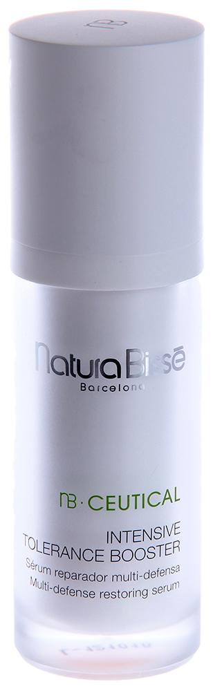 NATURA BISSE Эмульсия восстанавливающая защитная / Intensive Tolerance Booster NB CEUTICAL 30млЭмульсии<br>Эмульсия укрепляет естественную защиту, успокаивает, интенсивно увлажняет и смягчает чувствительную кожу. Входящая в состав средства активная комбинация пептидов усиливает синтез коллагена и эластина, что повышает эластичность тканей. Десенсибилизирующий комплекс, состоящий из красных водорослей (Pikea Robusta), бета-глюканов, фосфолипидов и масла ши, оказывает антиоксидантное действие, усиливает естественную защиту и дарит коже длительное ощущение свежести и комфорта. Смягчает, успокаивает и освежает кожу. Обладает регенерирующим действием. Уменьшает гиперемию. Восстанавливает эластичность и тургор кожи. Активные ингредиенты (состав): Water (Aqua), Propylheptyl Caprylate, Betaine, Panthenol, Butylene Glycol, Propanediol, Aloe Barbadensis Leaf Extract, Amaranthus Caudatus Seed Extract, Butyrospermum Parkii (Shea) Butter, Pseudoalteromonas Ferment Extract, Pikea Robusta Extract, Glyceryl Linoleate, Glycerin, Glyceryl Linolenate, Acetyl Dipeptide-1 Cetyl Ester, Tripeptide-10 Citrulline, Tripeptide-1, Sodium Carboxymethyl Beta-Glucan, Hydrolyzed Wheat Protein, Hydrolyzed Soy Protein, Helianthus Annuus (Sunflower) Seed Oil, Phospholipids, Polyglyceryl-10 Stearate, Glycereth-18 Ethylhexanoate, Glycereth-18, PEG-20 Palmitate, PEG-20 Myristate, Sodium Lactate, Lactic Acid, Sorbitol, Serine, Sodium Acrylates Copolymer, Hydrogenated Polyisobutene, Allantoin, Hydroxyethylcellulose, Acrylamide/Ammonium Acrylate Copolymer, Polyisobutene, Xanthan Gum, Pentylene Glycol, Ethylhexylglycerin, Caprylyl Glycol, Urea, Lecithin, Laureth-3, Polysorbate 20, Glyceryl Stearate, Tocopherol, Glyceryl Oleate, Polyurethane-39, Carbomer, Triethanolamine, Sodium Chloride, Disodium EDTA, Ascorbic Acid, Ascorbyl Palmitate, Citric Acid, Potassium Sorbate, Sodium Benzoate, Dehydroacetic Acid, Benzoic Acid, Phenoxyethanol, Flavor (Aroma), Fragrance (Parfum), Yellow 5 (CI 19140), Red 4 (CI 14700).
