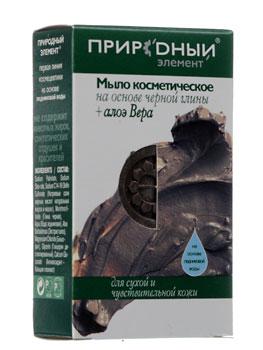 ПРИРОДНЫЙ ЭЛЕМЕНТ Мыло косметическое на основе черной глины + Алоэ Вера 75гр