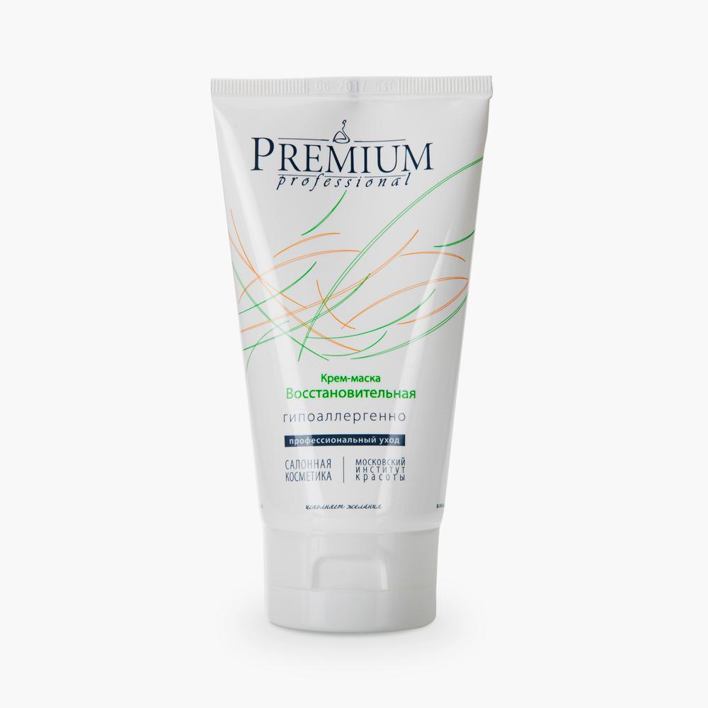 PREMIUM Крем-маска Восстановительная / Professional 150млМаски<br>Предназначается для ухода сухой&amp;nbsp;увдающей кожей лица и шеи. Мощные увлажнители - коллаген и эластин активно&amp;nbsp;воздействуют на обменные процессы дермы, интенсивно повышают содержание влаги в коже. Устраняет явления сухости и&amp;nbsp;шелушения, повышает эластичность кожи, выраженно замедляет процессы старения, восстанавливает упругость кожи. Активные ингредиенты: масло кукурузы, соевый воск, пчелиный воск; гидролизаты коллагена и эластина, витамин Е, экстракт пантов, смола склероция. Способ применения: нанести после очищения и тонизирования в виде маски на 15-20 мин, остатки промокнуть салфеткой. Применять 2-3 раза в неделю, курс - 15 масок с повторением через 6 месяцев. Возможно использование в качестве крема.<br><br>Тип: Крем-маска<br>Объем: 150<br>Вид средства для лица: Пчелиный<br>Типы кожи: Сухая и обезвоженная