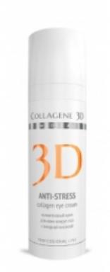 MEDICAL COLLAGENE 3D Крем для кожи вокруг глаз Anti-Stress 30мл профКремы<br>Нежный тающий крем ANTI-STRESS   Крем на основе янтарной кислоты и экстракта яблок Анурка   повышает жизнеспособность клеток для восстановления кожи изнутри благодаря трехмерному поддержанию молодости этой деликатной зоны. Превосходный источник энергии: янтарная кислота - драгоценный концентрат, является ускорителем клеточного обмена веществ путем стимулирования энергии в клетках. Усиливает клеточное дыхание и активирует истощенные, поврежденные и уставшие клетки. Придает коже свежесть и внутреннее сияние. Превосходный источник жизни: экстракт яблока Анурка   корректирует потерю упругости и эластичности кожи, а также заметно уменьшает отечности и темные круги под глазами, делая взгляд отдохнувшим и сияющим. Превосходный источник молодости: нативный трёхспиральный коллаген   комплексно воздействует на восстановление и поддержание ресурса молодости кожи: улучшает опорные структуры, оказывает мгновенный лифтинг и обеспечивает глубокую и длительную гидратацию. День за днём кожа возрождается, обновляясь изнутри, она становится более упругой и плотной. Ваш взгляд сияет свежестью и выглядит отдохнувшим, морщины разглаживаются и веки выглядят подтянутыми. Активные ингредиенты: янтарная кислота, экстракт яблока Анурка, нативный трёхспиральный коллаген. Способ применения: наносить утром и вечером на очищенную кожу вокруг глаз. Для усиления эффекта можно предварительно нанести коллагеновую сыворотку ANTI-STRESS для кожи вокруг глаз.<br><br>Вид средства для лица: Нежный<br>Типы кожи: Чувствительная