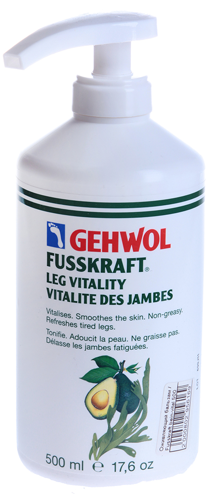 GEHWOL Бальзам оживляющий (флакон с дозатором) 500млБальзамы<br>Бальзам не только нежно ухаживает за кожей ног и ступней, но и снимает симптомы усталости, оживляет ножки. Активные ингредиенты: Натуральные масла, витамины и экстракт морских водорослей. Легкий по текстуре, бальзам практически сразу впитывается в кожу, не оставляя следов. Способ применения: Нанести вечером на чистую и сухую кожу ног. Бальзам быстро впитывается, но, тем не менее, позволяет делать по нему легкий массаж.<br><br>Объем: 500<br>Назначение: Варикоз