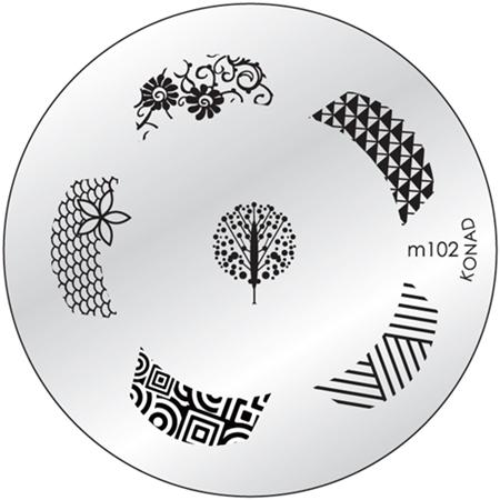 KONAD Форма печатная (диск с рисунками) / image plate M102 10грСтемпинг<br>Диск для стемпинга Конад М102 с восхитительными узорами для френч маникюра. Несколько видов изображений, с помощью которых вы сможете создать великолепные рисунки на ногтях, которые очень сложно создать вручную. Активные ингредиенты: сталь. Способ применения: нанесите специальный лак&amp;nbsp;на рисунок, снимите излишки скрайпером, перенесите рисунок сначала на штампик, а затем на ноготь и Ваш дизайн готов! Не переставайте удивлять себя и близких красотой и оригинальностью своего маникюра!<br>