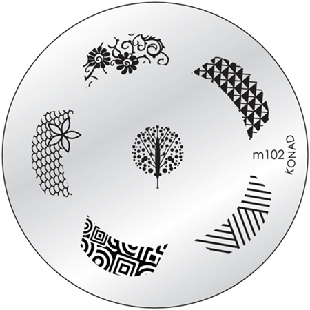 KONAD Форма печатная (диск с рисунками) / image plate M102 10гр декор для маникюра konad печатная форма диск image plate m102