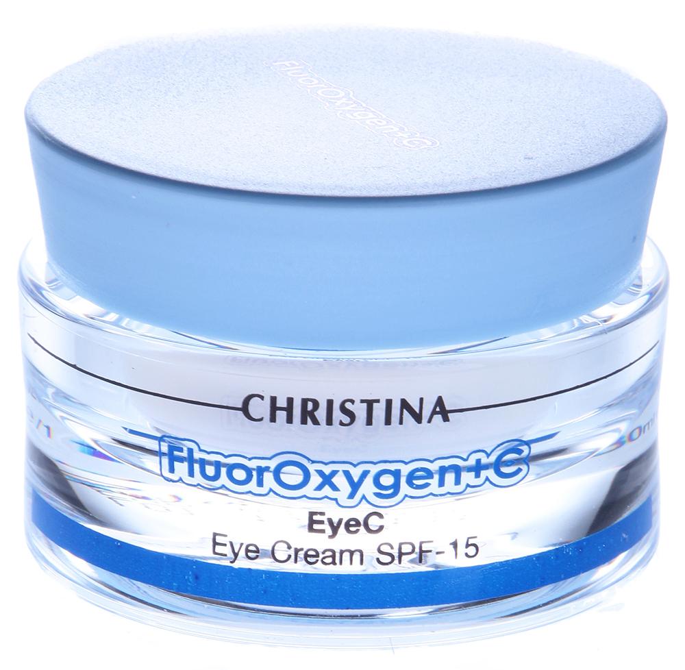 CHRISTINA Крем осветляющий для зоны глаз с СПФ15 / EyeС FLUOROXYGEN+C 30млКремы<br>Эффективен против темных кругов под глазами, уменьшает припухлость и мимические морщины, защищает кожу век от вредного воздействия окружающей среды. Осветляет кожу.  Активные ингредиенты:  Экстракт толокнянки, магнезиум аскорбил фосфат, рапсовое масло, этилгексил триазон, октилметоксициннамат, этилгексилоксифенол метоксифенил триазон, гидролизированный рисовый и соевый протеин, оксидоредуктаза. Применение: Перед выходом на солнце нанесите небольшое количество крема похлопывающими движениями на область вокруг глаз.<br><br>Объем: 30<br>Вид средства для лица: Отбеливающий<br>Назначение: Морщины