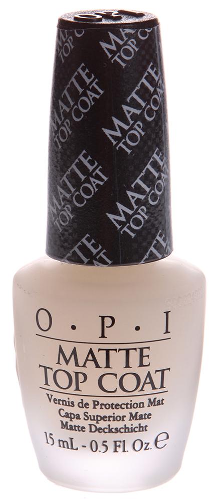 OPI Покрытие верхнее для создания матового эффекта / Matte Top-Coat 15млВерхние покрытия<br>Профессиональная формула быстро закрепляет лак, оставляя после высыхания гладкую ровную поверхность с матовым эффектом. Защищает поверхность лака от изменения цвета и царапин.<br><br>Виды лака: Матовые<br>Типы ногтей: Нормальные