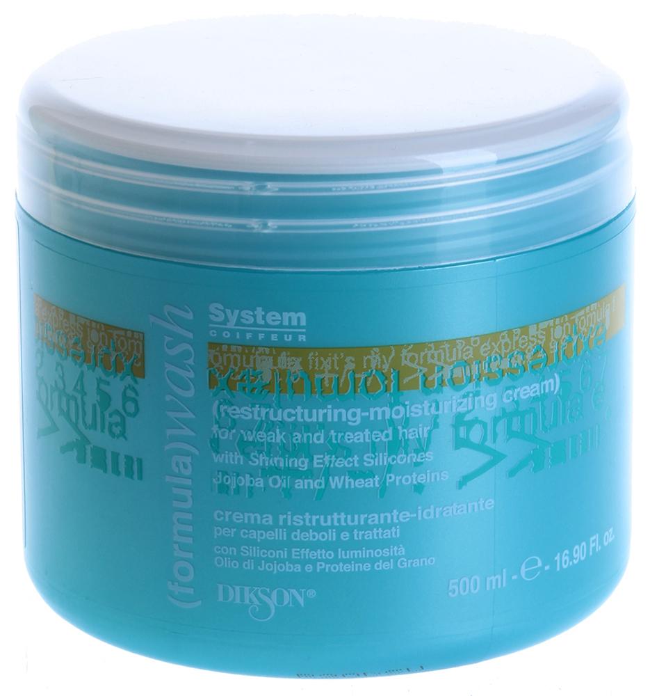 DIKSON Крем восстанавливающий сильного действия / RESTRUCTURING-MOUSTURIZING CREAM WASH 500млКремы<br>Питательный крем оказывает мощное восстанавливающее действие на поврежденные волосы. Идеальное ухаживающее средство для ослабленных и подвергшихся химической обработке волос, утративших жизненную силу. Протеины шелка разглаживают структуру волоса по всей длине и защищают стержень от негативных внешних воздействий. Активный состав: Масло жожоба, протеины шелка. Применение: Нанести крем на влажные волосы, равномерно распределив по всей длине. Тщательно смыть теплой водой.<br><br>Объем: 500