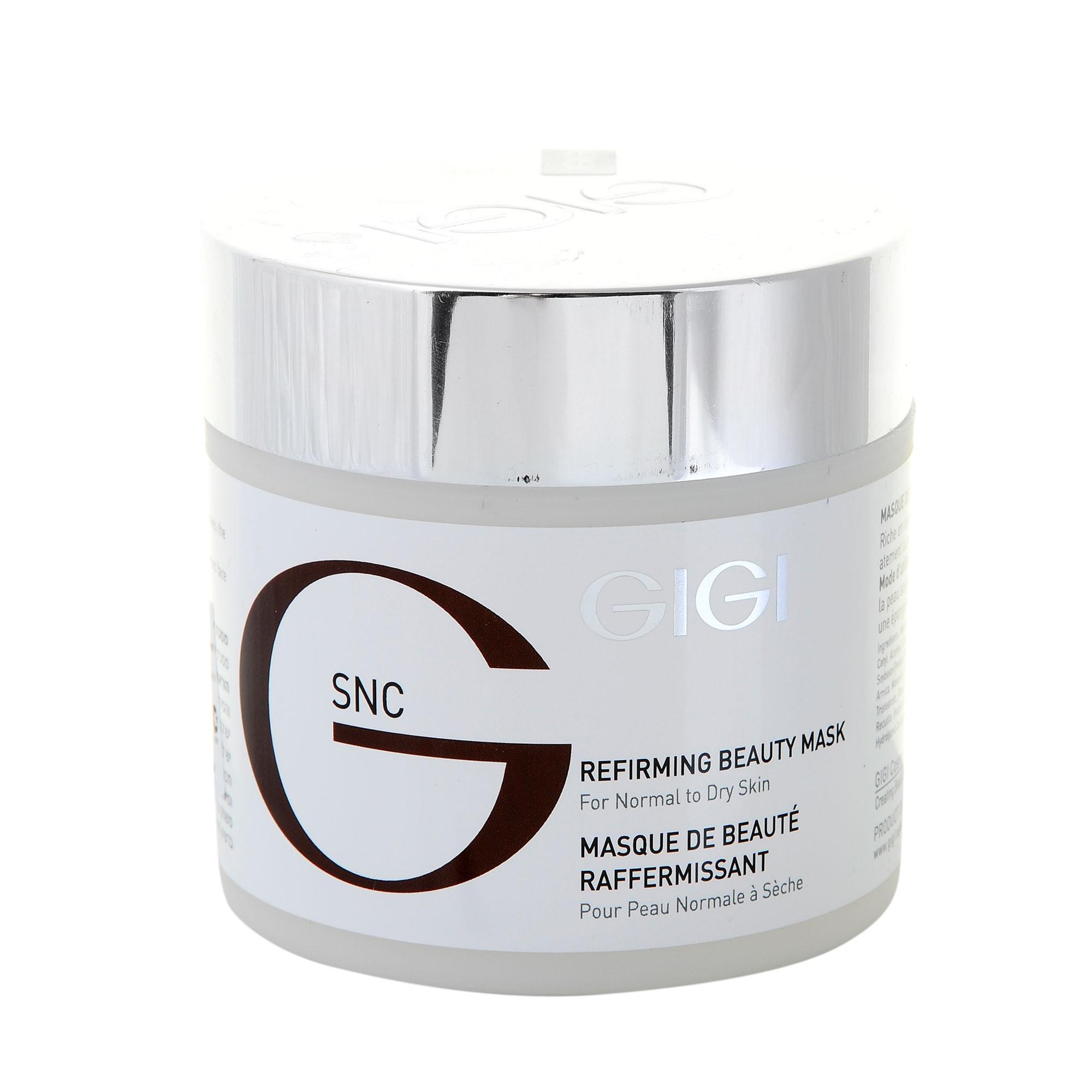 GIGI Маска красоты укрепляющая / Refirming Beauty Mask SNC 250млМаски<br>Маска приятной кремообразной консистенции с высоким содержанием биологически активных компонентов, легко усваиваемых кожей (масло календулы, Ши, семян шиповника), предназначена для интенсивного обновления и омоложения кожи любого типа. Действует: Активизирует клеточные процессы, нормализует обмен веществ, улучшает циркуляцию крови в дерме, регулирует проницаемость тканей, уменьшает симптомы натянутости кожи, разглаживает морщины и повышает эластичность тканей. Обладает противовоспалительным, успокаивающим действием, снимает раздражения, регулирует влажность кожи (гиалуроновая кислота, гель Алоэ Вера). Восстанавливает естественный цвет лица, обладает эффектом лифтинга, расправляя морщины. Активные ингредиенты: Масло Ши, гамамелис, протеин сои и пшеницы, экстракт ячменя, арники, ромашки, масло семян шиповника, гель алоэ, аллантоин, масло календулы, гидролизированные коллаген, эластин и шелк, гиалуроновая кислота, витамин Е.  Способ применения: Нанести на очищенное лицо тонким равномерным слоем, внедрить массажными движениями и оставить на 20 минут или поверх нанести SNC Biomarine термомоделирующую маску. Остатки снять теплым компрессом или слегка промокнуть влажными салфетками.<br><br>Объем: 250<br>Вид средства для лица: Успокаивающий<br>Назначение: Морщины