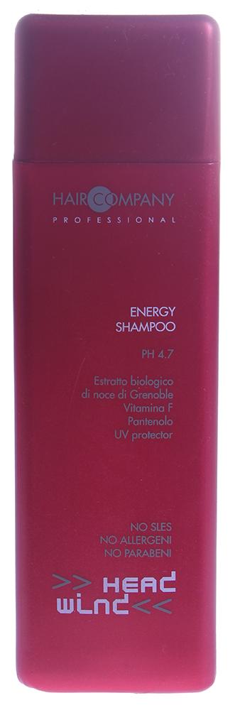 HAIR COMPANY Шампунь энергетический / Energy Shampoo HW 250мл~Шампуни<br>Энергетический шампунь Energy shampoo &amp;mdash; это мягкое средство для эффективного очищения кожи головы и волос и придания им жизненного тонуса и энергии. Продукт защищает окрашенные волосы от выгорания, возвращает блеск и эластичность, потерянные при механической или химической обработке. Результат. Волосам возвращается жизненная сила.   Способ применения: Нанесите шампунь на влажные волосы, подержите на волосах 2-3 минуты и смойте теплой водой.<br><br>Объем: 250