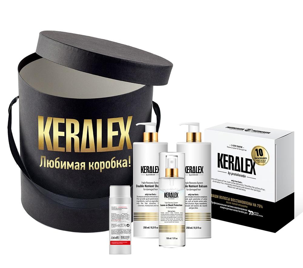 Купить PROTOKERATIN Набор подарочный салонной процедуры (набор стартовый 3х150 мл, шампунь 250 мл, бальзам 250 мл, спрей 150 мл, гель для рук 100 мл) Keralex