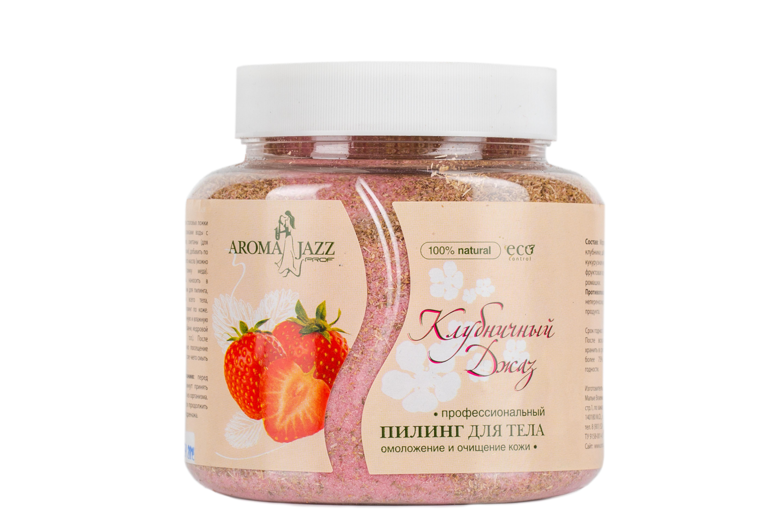 AROMA JAZZ Пилинг для тела омолаживающий Клубничный джаз 700млСкрабы<br>Профессиональный сухой пилинг для тела. Омоложение и очищение кожи.Снижает склонность к простудным заболеваниям, открывает поры, выводит шлаки, чистит сосуды, оздоравливает клетки кожи, нормализует работу сальных желез при жирной коже. Использование пилинга благотворно сказывается на общем состоянии кожного покрова: пропадает ощущение сухости и стянутости, надолго уступая место естественной свежести и мягкости. Активные ингредиенты: абразивная йодировано-минеральная соль, насыщенная экстрактами клубники, шиповника и конского каштана, кукурузная мука, лист земляники, фруктовая эссенция земляники, цветы липы. Способ применения: две-три столовых ложки пилинга смешать с двумя столовыми ложками сметаны, добавить несколько капель эфирного масла (можно добавить одну чайную ложку меда). Свежеприготовленную смесь нанести на распаренную влажную кожу (после принятия сауны, бани, кедровой бочки и т.д.) рукавичками для пилинга. Провести легкий массаж всего тела в течение 5-7 минут, равномерно распределяя пилинг по поверхности кожи. После проведения пилинга возможно посещение парной в течение 3-5 минут, затем без помощи мыла смыть состав. Противопоказания: аллергическая реакция на составляющие компоненты.<br><br>Объем: 700 мл