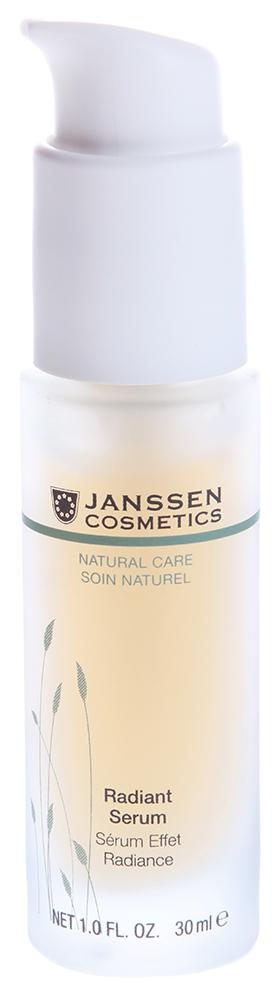 JANSSEN Концентрат увлажняющий мгновенного действия для сияния кожи / Radiant Serum BIOCOSMETICS 30млКонцентраты<br>Ревитализирующая сыворотка для уставшей кожи всех типов. Специальная композиция экстрактов альпийских трав подавляет синтез тирозиназы   ключевого фермента в процессе синтеза меланина, который является причиной нежелательной пигментации. Нежирная гелевая основа концентрата является прекрасным проводником гиалуроновой кислоты с короткой и длинной цепью, восстанавливающей баланс увлажнения. Сыворотка интенсивно увлажняет, разглаживает морщины и возвращает коже сияние. Активные ингредиенты: экстракты альпийских трав*, экстракт люцерны* и гиалуроновая кислота с короткой и длинной цепью. * Выращено на экологически чистых плантациях. Способ применения: наносите Radiant Serum на чистую кожу лица утром и/или вечером. Дайте впитаться, а затем нанесите крем. В салоне применять согласно регламенту ухода.<br><br>Вид средства для лица: Увлажняющий<br>Назначение: Морщины<br>Консистенция: Нежирная
