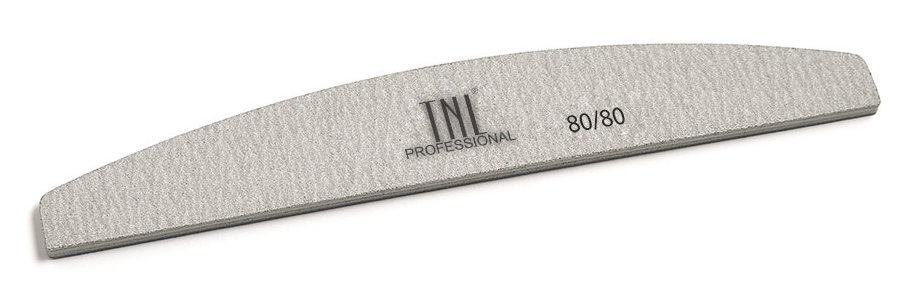 TNL PROFESSIONAL Пилка лодочка для ногтей 80/80, серая (в индивидуальной упаковке)